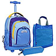 Школьный рюкзак на колесах - ранец JWORLD POLYPOP арт. RBS-16K Neon Blue