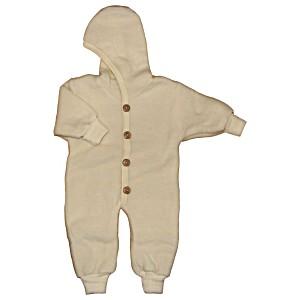 Комбинезон детский из шерстяного флиса с капюшоном на пуговицах COSILANA (Козилана) 100% шерсть цвет Натуральный